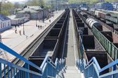 Railway freight trains at the station Slyudyanka Irkutsk region — Stock Photo