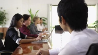 Young Asian man at work as manager in business meeting and smiling at camera. — Stock Video