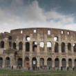 The Colosseum, world famous monument in the city of Rome, Italy - Stock Photo