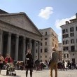 Time lapse of Pantheon, famous monument in Rome, Italy - Stock Photo