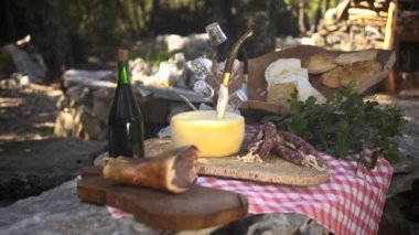 Typical Italian food with ham, cheese, salami and wine — Stock Video