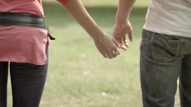 Young couple walking hand in hand — Stockvideo