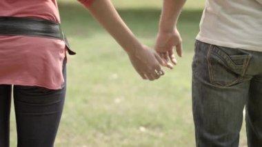 Joven pareja caminando de la mano — Vídeo de Stock