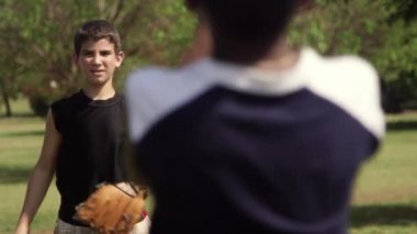 Young friends, baseball team with kids smiling at camera — Stock Video