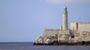 Lighthouse on the bay and sea, Havana, Cuba — Stock Video