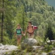 Couple kissing, hiking and trekking on mountain. — Stock Video