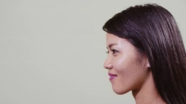 Profile of Asian woman — Stock Video