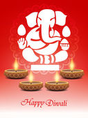 Religious elegant background for diwali with beautiful ganesha. — Stock Vector