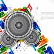 Stock Vector: Abstract music theme background with loudspeakers,
