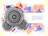 Abstraktní hudební téma pozadí s reproduktory. — Stock vektor