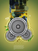Abstract music theme background with loudspeakers — Stock Vector
