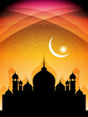 Artistic religious eid background with mosque. — Stock Vector