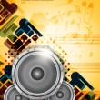 Stock Vector: Abstract music theme background with loudspeakers.