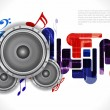 Royalty-Free Stock Vector Image: Abstract music theme background with loudspeakers