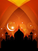 Abstract religious eid background with mosque. — Vecteur