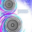 Abstract music theme background with loudspeakers - Stock Vector