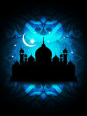 Abstract religious eid background design with mosque. — Stock Vector
