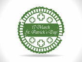 Green rubber stamp with clover for Happy St. Patrick's Day — Stock Vector