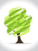 Soyut modern el çekilmiş yeşil ağaç. — Stok Vektör