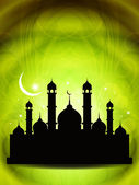 Religious eid background design with mosque. — Stock Vector