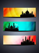 Set of religious header or banner for ramadan and eid with colorful background and mosque. — Vecteur
