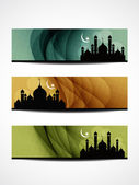 Set of religious header or banner for ramadan and eid with colorful background and mosque. — Stock Vector