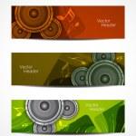 serie di disegni di intestazione di bella musica — Vettoriale Stock