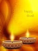 Artistic background for diwali festival with beautiful lamp. — Stock Vector