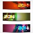 Set of abstract colorful vector web header designs for new year 2014. — Stock Vector