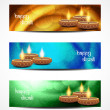 Set of abstract vector web header or banner designs for diwali. — Imagen vectorial
