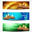 Set of abstract vector web header or banner designs for diwali. — Vettoriali Stock