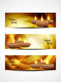 Set of abstract vector web header or banner designs for diwali. — Stock Vector