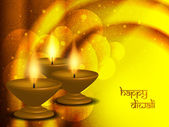 Dini arka plan tasarımı güzel lambalar ile diwali festivali için. — Stok Vektör