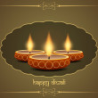 Religious background design for diwali festival with beautiful lamps. — Vettoriali Stock