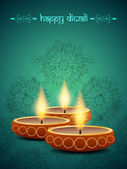 Religious background design for diwali festival with beautiful lamps. — Stock Vector