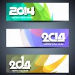 Set of abstract colorful vector web header designs for new year 2014. — Stock Vector #32906927
