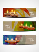 Set of elegant religious vector web header designs for diwali. — Stock Vector