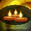 Artistic religious background design for diwali festival with beautiful lamps. — Stock Vector