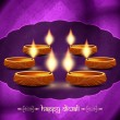 Artistic religious background design for diwali festival with beautiful lamps. — Stok Vektör