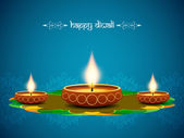 Religious elegant background for diwali with beautiful lamps. — Stock Vector