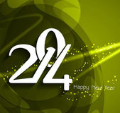 Glowing green color background design for new year 2014. — Stock vektor