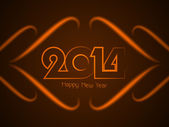 Beautiful brown color card design for new year 2014. — Stock Vector