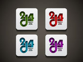 Set di elementi di design colorato felice nuovo anno 2014. — Vettoriale Stock