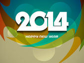 Glowing green color background design for new year 2014. — Stock Vector