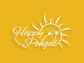 Beautiful text design of Happy Pongal. Pongal is a famous south Indian religious harvest festival and it marks the beginning of the northward journey of the Sun from its southernmost limit. — Stock Vector