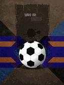 グランジ テクスチャにカラフルなモダンなデザインと創造的なサッカーの背景. — ストックベクタ