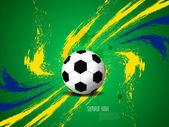 Creative elegant football background with Brazil colors grunge splash. — Stock Vector