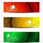 Set of colorful elegant header designs for Ramadan. — Stock Vector #48947949