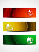 Set of beautiful header designs for Eid. — Stock Vector