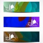 Set of colorful elegant header designs for Ramadan. — Stock Vector #48951623